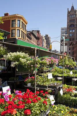 Flower Stalls In Urban Farmers Market Poster by Patti McConville