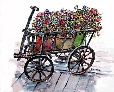 Poster featuring the painting Flower Wagon by Terry Banderas