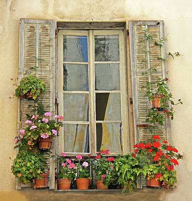 Poster featuring the photograph Flower Window Provence France by Dave Mills