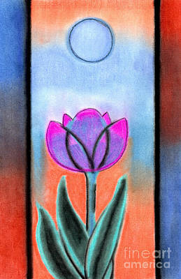 Poster featuring the pastel Flower With Blue Moon by Christine Perry