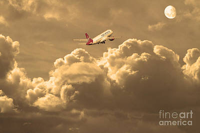Fly Me To The Moon . Partial Sepia Poster by Wingsdomain Art and Photography