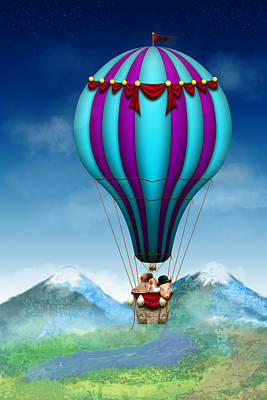 Flying Pig - Balloon - Up Up And Away Poster by Mike Savad