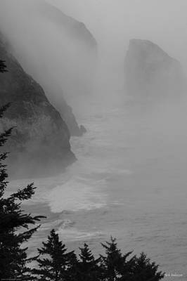 Fog And Cliffs Of The Oregon Coast Poster by Mick Anderson