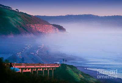Fog Rolls In On Sunset Cliffs At Twilight At Torrey Pines Beach Poster by Susan McKenzie