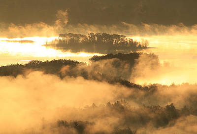 Foggy Sunrise Quabbin Islands Poster by John Burk