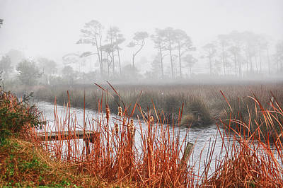 Foggy Waterville Marsh Poster by Michael Thomas
