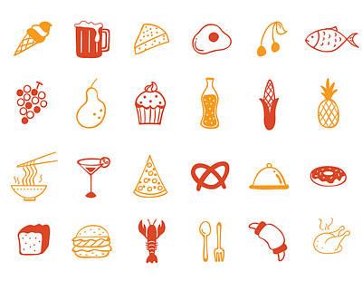 Food Icon Set Poster