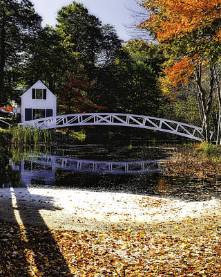 Footbridge With Autumn Colors Poster by George Oze