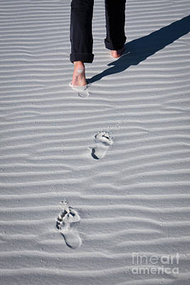 Footprint On White Sand Poster
