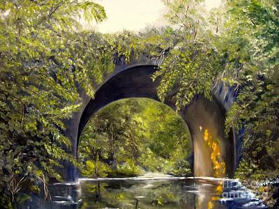 Poster featuring the painting Forgotten Train Bridge by Carol Sweetwood