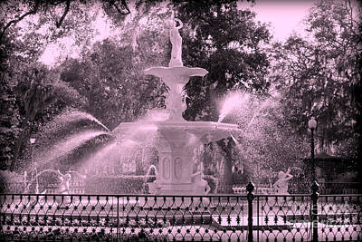 Forsyth Park Fountain In Pink Poster