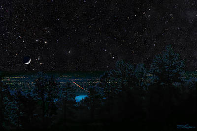 Fort Collins Colorado At Night Poster