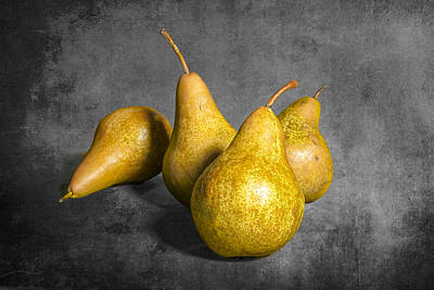 Four Pears On Gray Poster by Randall Nyhof