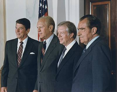 Four Presidents Reagan Ford Carter Poster by Everett
