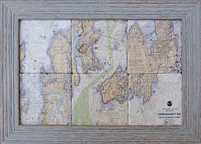 Framed Narragansett Bay Tile Set Poster by P Anthony Visco