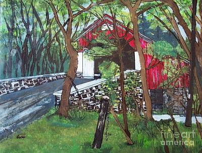 Frankenfield Covered Bridge Poster by Lucia Grilletto