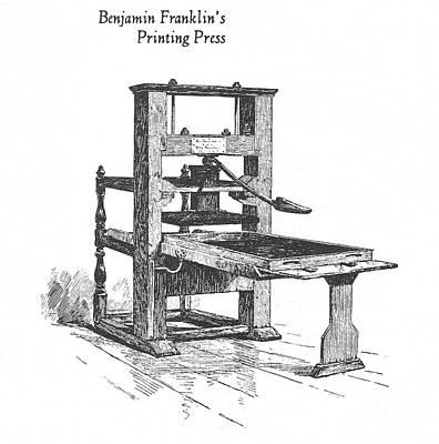 Franklins Printing Press Poster by Granger