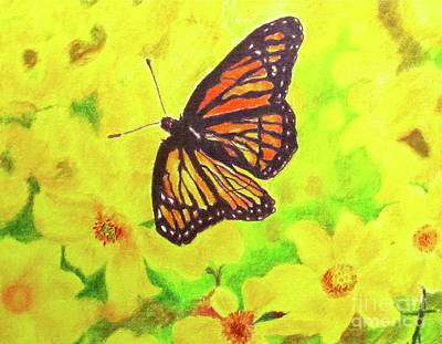 Poster featuring the drawing Free To Fly by Beth Saffer