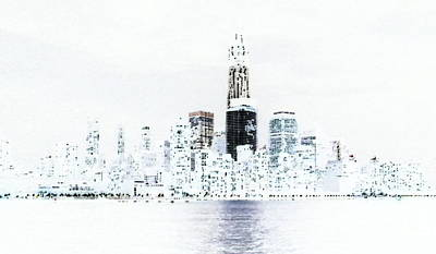 Freedom Tower Negative Poster by Lewis Mengersen