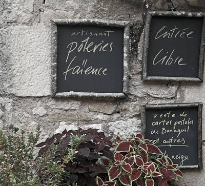 French Chalkboard Signs Poster by Georgia Fowler
