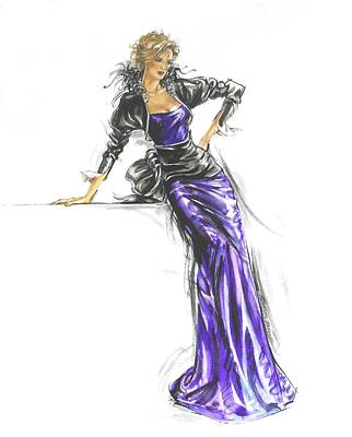 French Gown Fashion Illustration Poster