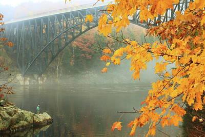 French King Bridge Autumn Fisherman Poster