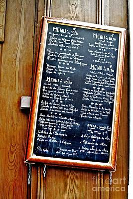 Poster featuring the photograph French Menu by Kim Wilson