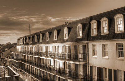French Quarter Balconies Sepia Poster