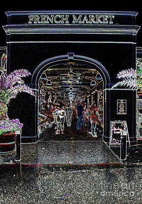 French Quarter French Market Entrance New Orleans Glowing Edges Edges Digital Art Poster by Shawn O'Brien