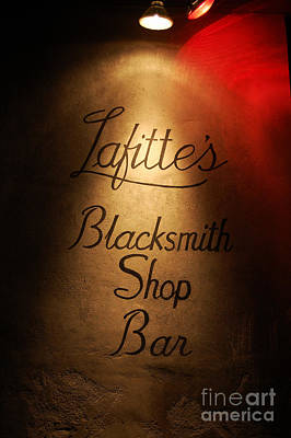 French Quarter Illuminated Lafittes Blacksmith Shop Bar Sign New Orleans Poster