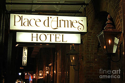 French Quarter Place Darmes Hotel Sign And Gas Lamps New Orleans Accented Edges Digital Art Poster