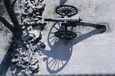 Fresh Snowfall Outlines A Cannon Poster by Stephen St. John