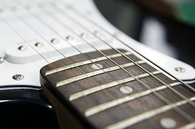 Frets On An Electric Guitar Poster