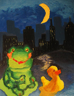 Frog And Duck Go To The Bog City By Way Of The Lake Poster by M Zimmerman