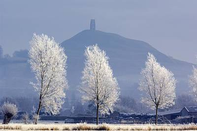 Frost-covered Trees And Glastonbury Tor Poster by Duncan Shaw