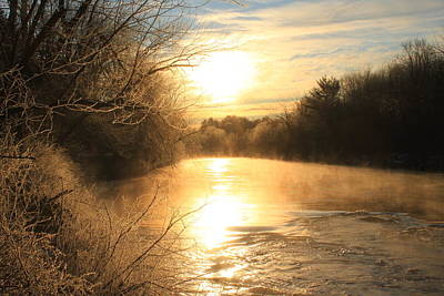 Frozen Fog At Sunrise On The Ashuelot River Poster by John Burk