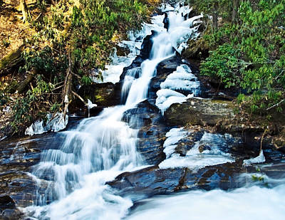 Poster featuring the photograph Frozen Waterfall by Susan Leggett