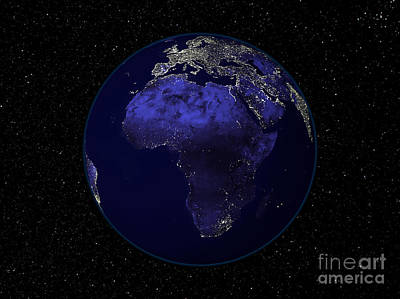 Full Earth At Night Showing Africa Poster by Stocktrek Images