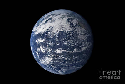 Full Earth Centered Over The Pacific Poster by Stocktrek Images