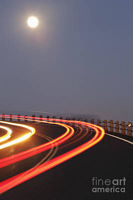 Full Moon Over A Curving Road Poster