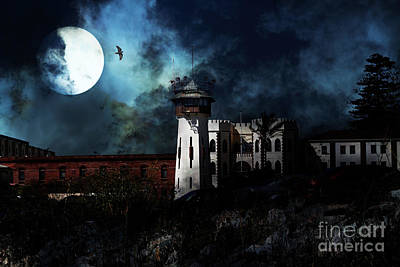 Full Moon Over Hard Time - San Quentin California State Prison - 7d18546 Poster by Wingsdomain Art and Photography