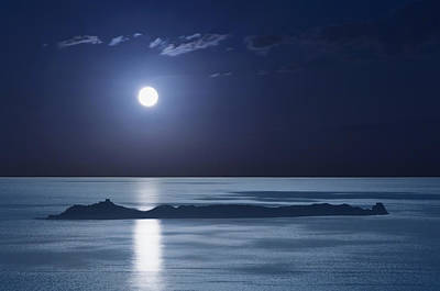 Full Moon Over Seascape Poster by Anna Henly