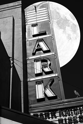 Full Moon Over The Lark - Larkspur California - 5d18489 - Black And White Poster by Wingsdomain Art and Photography