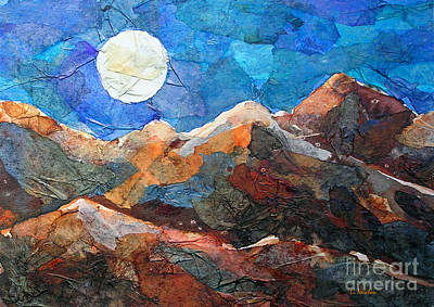 Poster featuring the painting Full Moon Over The Sierras by Li Newton
