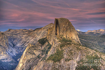 Full Moon Rise Behind Half Dome Poster by Jim and Emily Bush