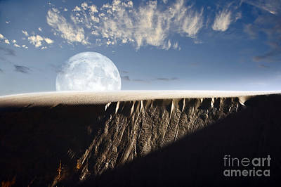 Full Moon Rising Above A Sand Dune Poster