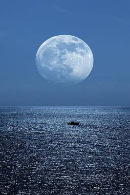Full Moon Rising Over The Sea Poster
