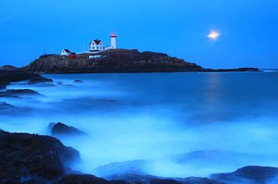 Full Moon Surf Cape Neddick Nubble Lighthouse Poster by John Burk