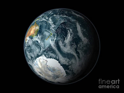 Full View Of The Earth Highlighting Poster by Stocktrek Images