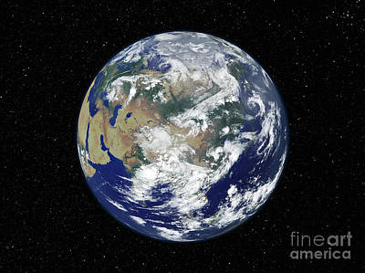 Fully Lit Earth Centered On Asia Poster by Stocktrek Images